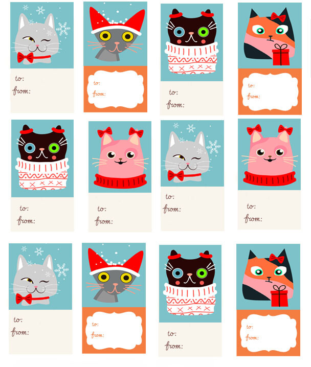 Printable Cat Christmas Gift Tags - My 3 Little Kittens